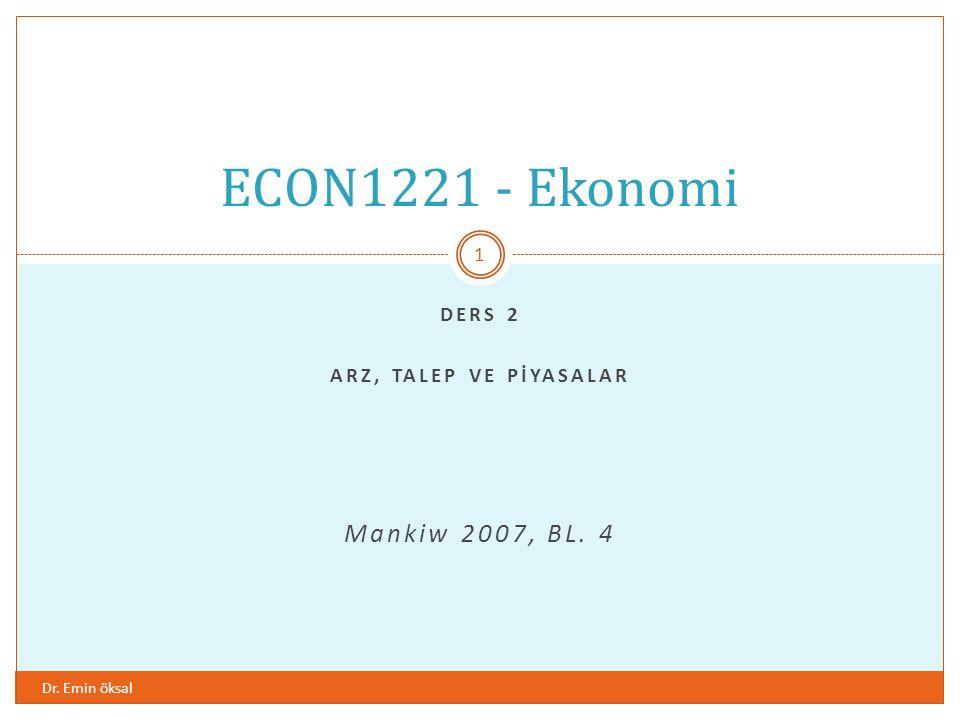 ders 2 ARZ, TALEP ve pİyasalaR Mankiw 2007, BL. 4