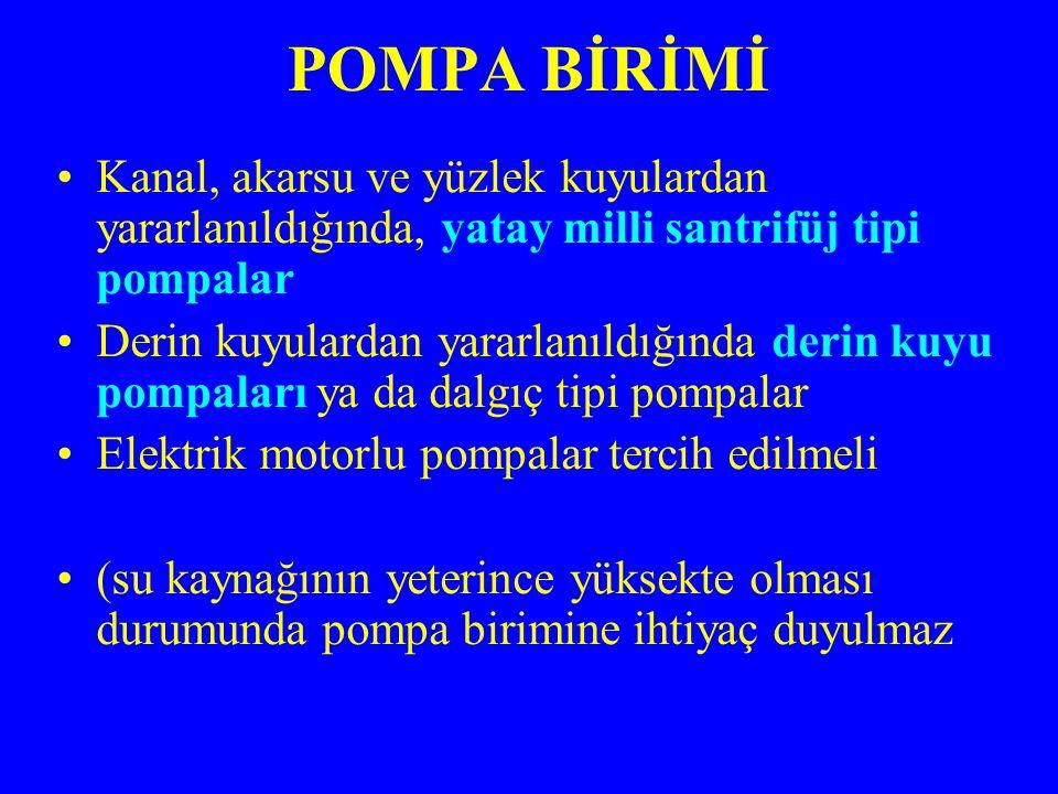 POMPA BİRİMİ Kanal, akarsu ve yüzlek kuyulardan yararlanıldığında, yatay milli santrifüj tipi pompalar.