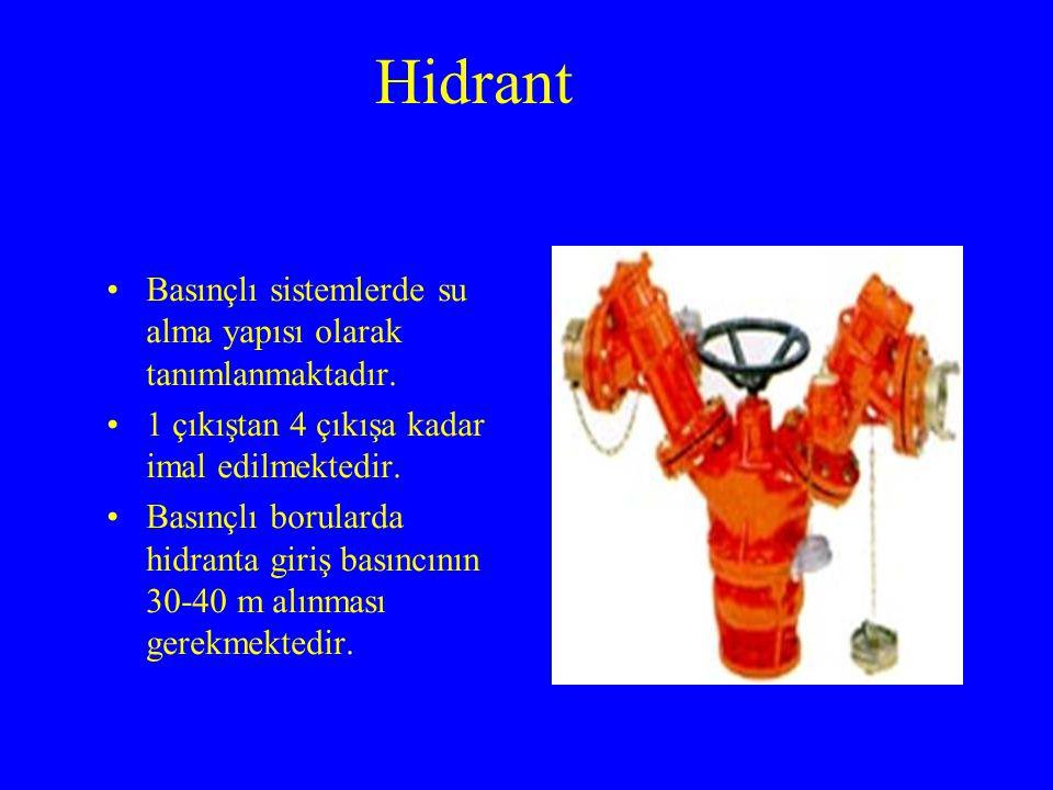 Hidrant Basınçlı sistemlerde su alma yapısı olarak tanımlanmaktadır.