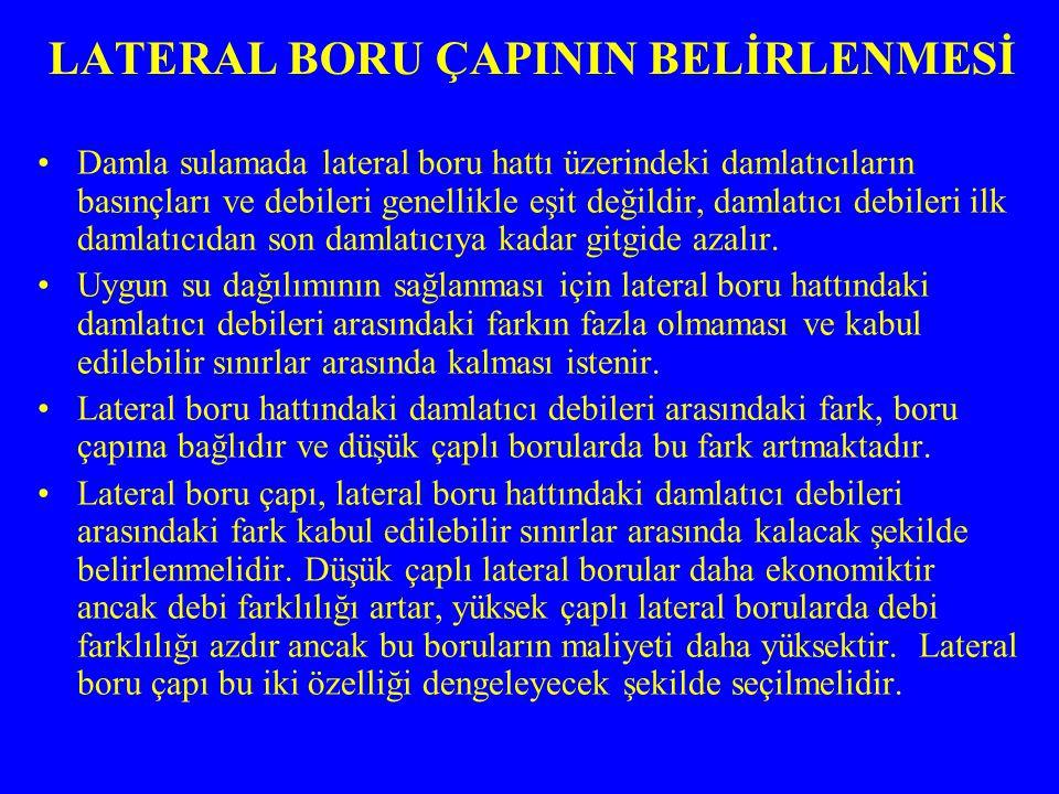 LATERAL BORU ÇAPININ BELİRLENMESİ