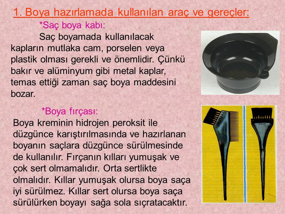 1. Boya hazırlamada kullanılan araç ve gereçler: