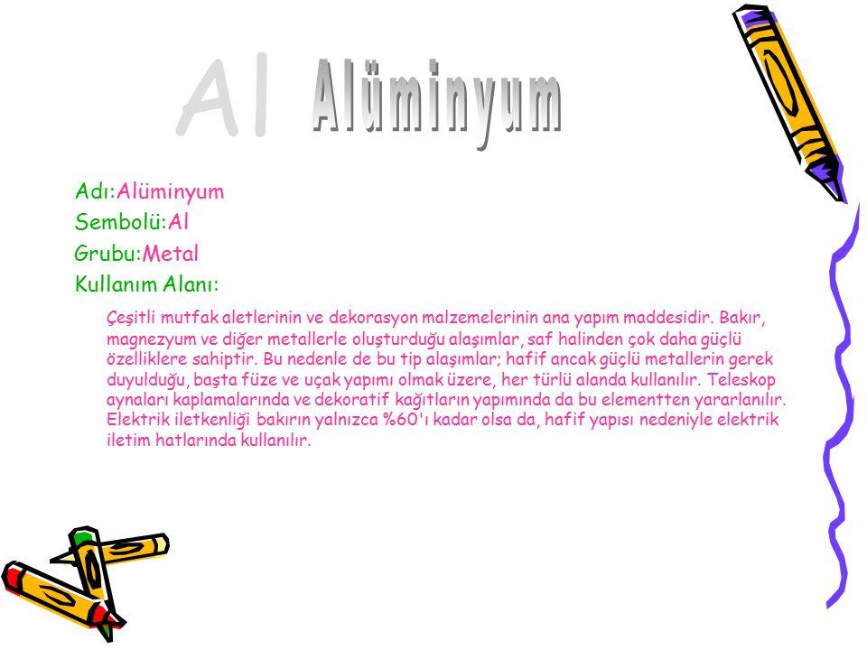 Al Alüminyum Adı:Alüminyum Sembolü:Al Grubu:Metal Kullanım Alanı: