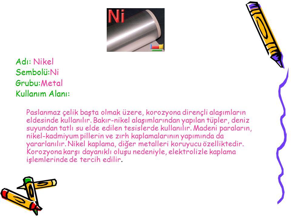 Adı: Nikel Sembolü:Ni Grubu:Metal Kullanım Alanı:
