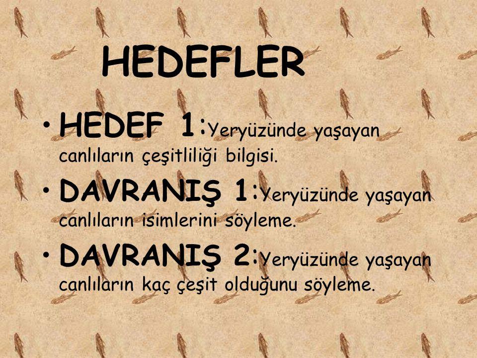 HEDEFLER HEDEF 1:Yeryüzünde yaşayan canlıların çeşitliliği bilgisi.
