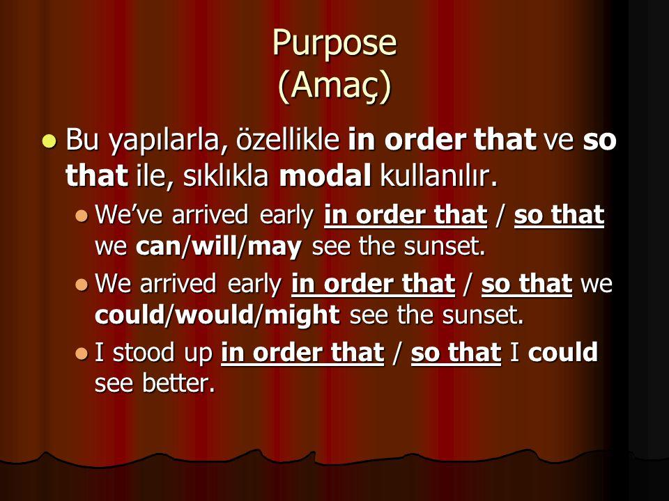 Purpose (Amaç) Bu yapılarla, özellikle in order that ve so that ile, sıklıkla modal kullanılır.