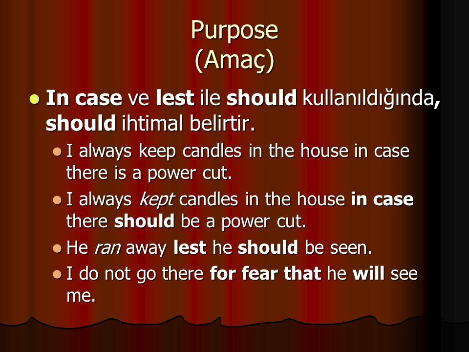 Purpose (Amaç) In case ve lest ile should kullanıldığında, should ihtimal belirtir.