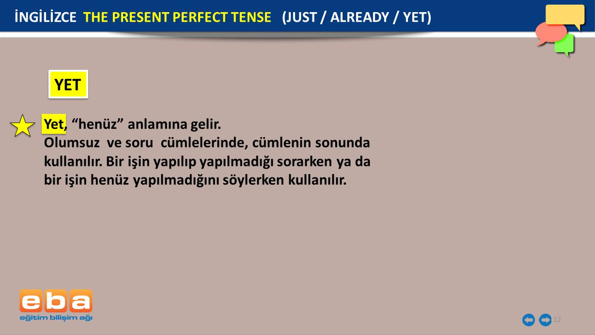 YET İNGİLİZCE THE PRESENT PERFECT TENSE (JUST / ALREADY / YET)