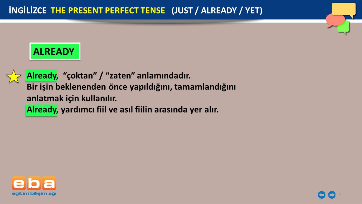 ALREADY İNGİLİZCE THE PRESENT PERFECT TENSE (JUST / ALREADY / YET)