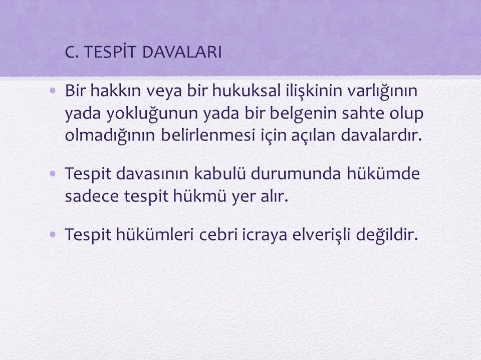 C. TESPİT DAVALARI