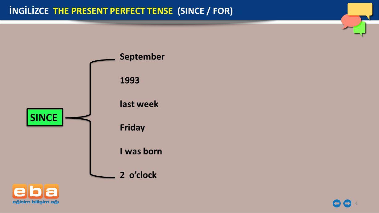 SINCE İNGİLİZCE THE PRESENT PERFECT TENSE (SINCE / FOR) September 1993