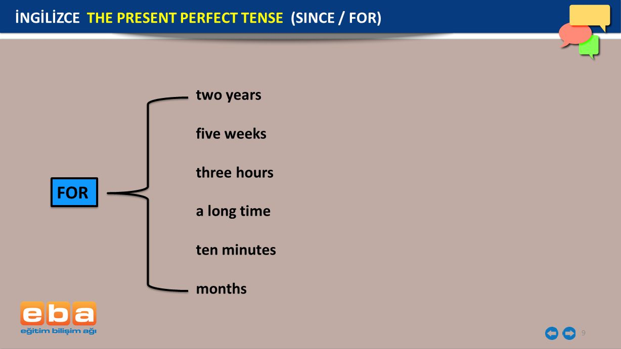 FOR İNGİLİZCE THE PRESENT PERFECT TENSE (SINCE / FOR) two years