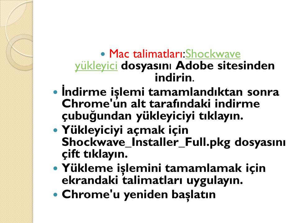 Mac talimatları:Shockwave yükleyici dosyasını Adobe sitesinden indirin.