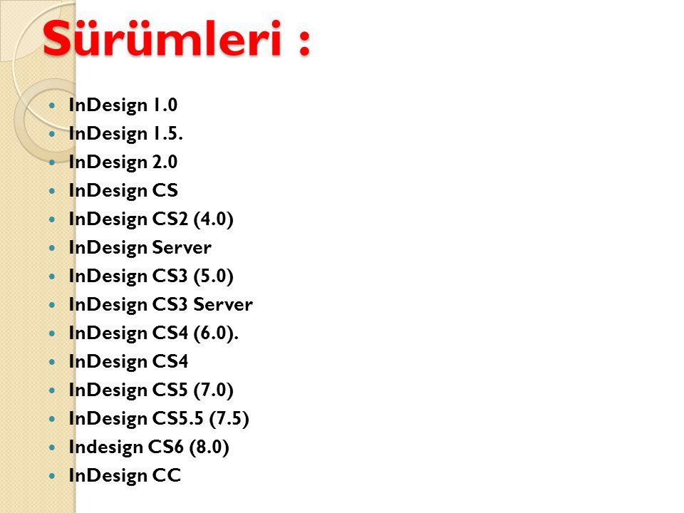Sürümleri : InDesign 1.0 InDesign 1.5. InDesign 2.0 InDesign CS
