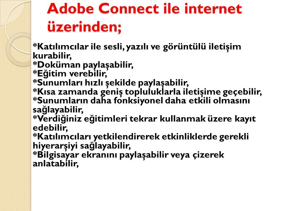 Adobe Connect ile internet üzerinden;