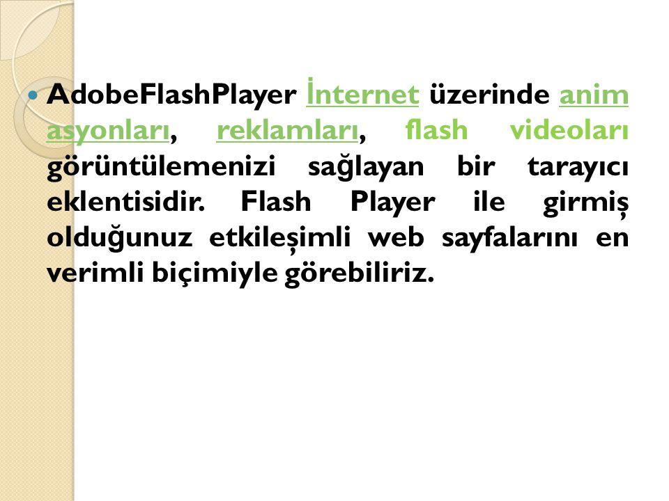 AdobeFlashPlayer İnternet üzerinde anim asyonları, reklamları, flash videoları görüntülemenizi sağlayan bir tarayıcı eklentisidir.