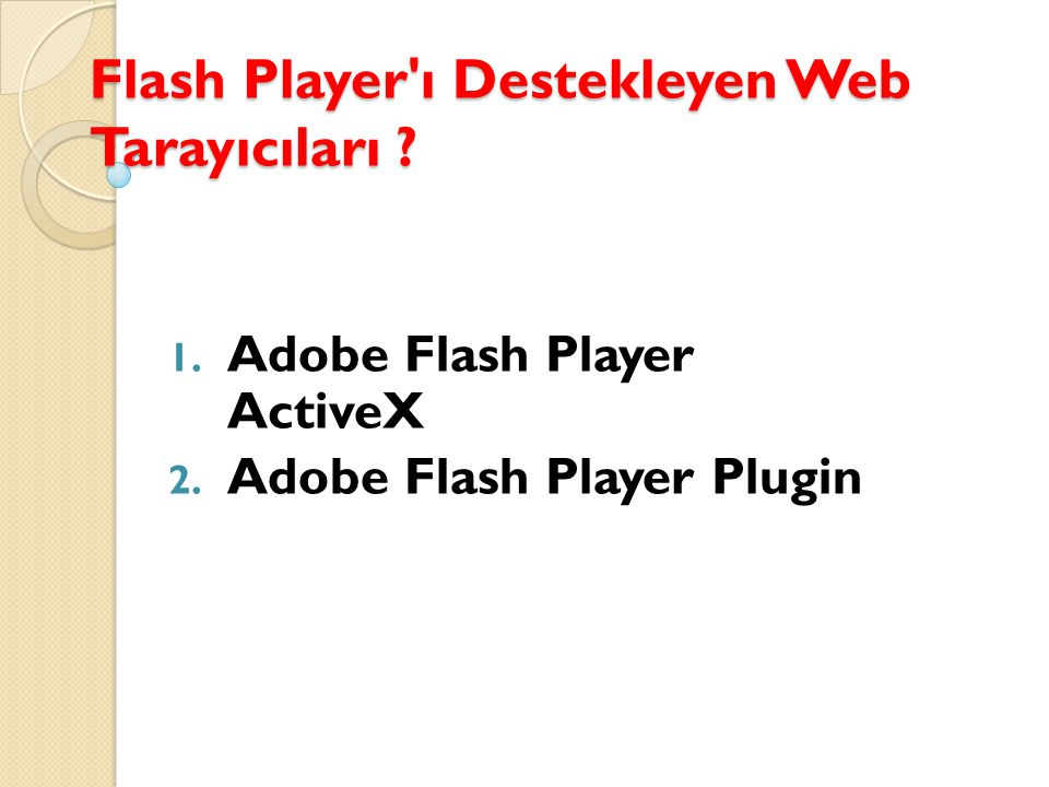 Flash Player ı Destekleyen Web Tarayıcıları