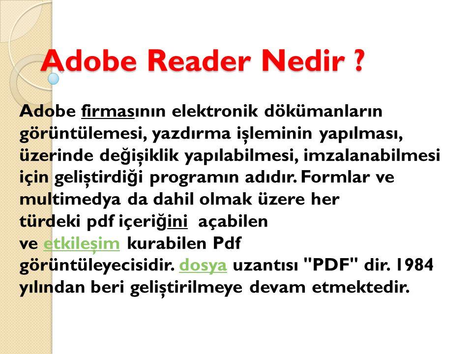 Adobe Reader Nedir