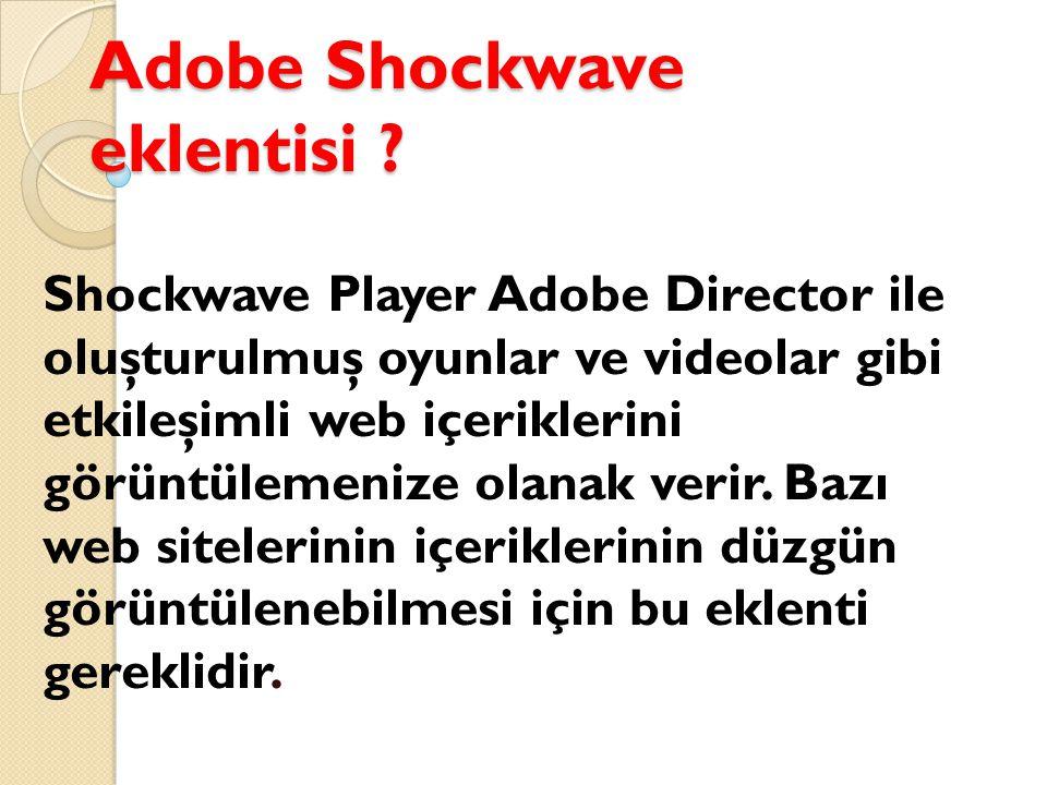 Adobe Shockwave eklentisi