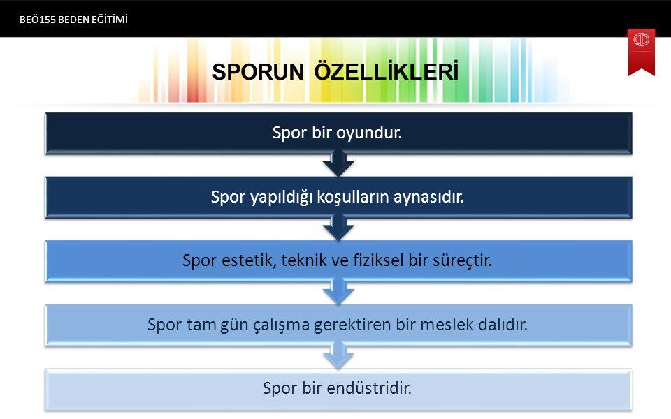 SPORUN ÖZELLİKLERİ Spor bir oyundur.