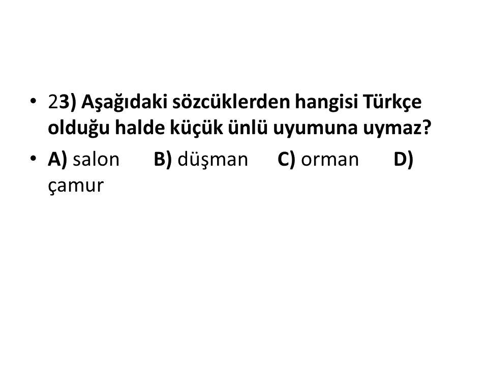 23) Aşağıdaki sözcüklerden hangisi Türkçe olduğu halde küçük ünlü uyumuna uymaz