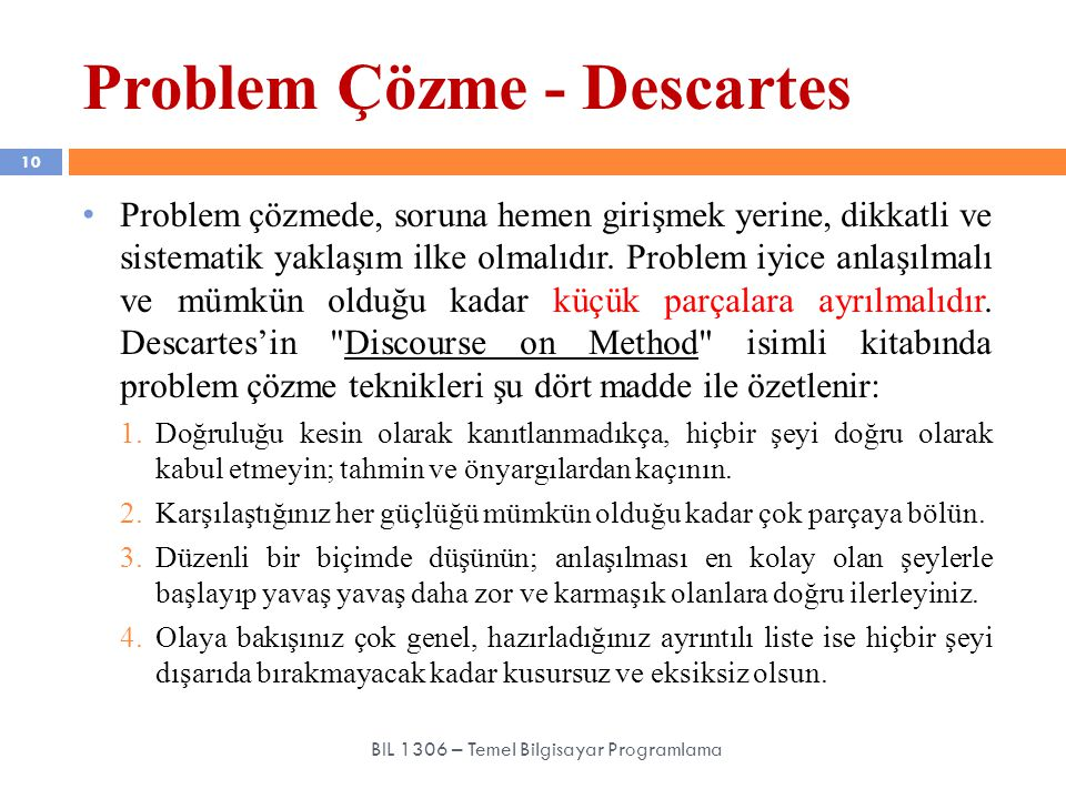 Problem Çözme - Descartes