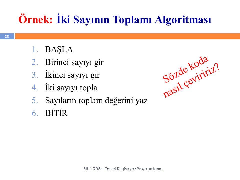 Örnek: İki Sayının Toplamı Algoritması