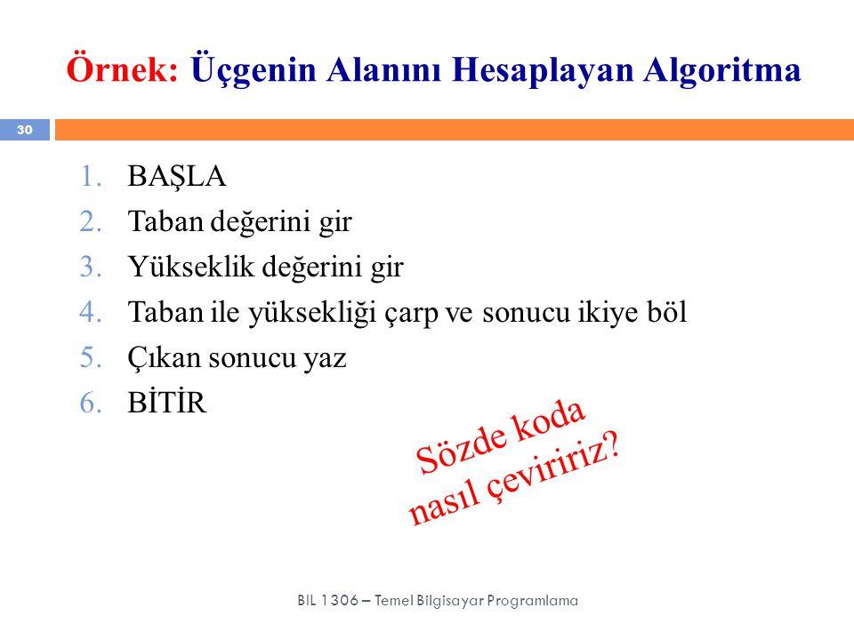 Örnek: Üçgenin Alanını Hesaplayan Algoritma