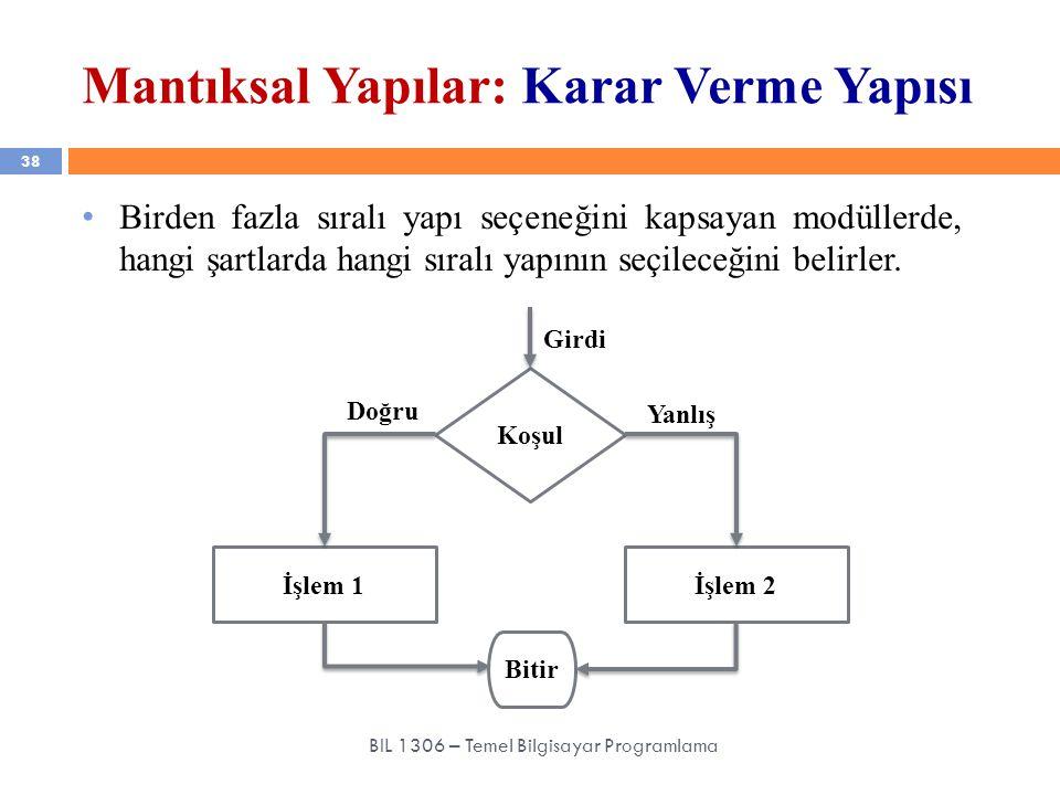 Mantıksal Yapılar: Karar Verme Yapısı