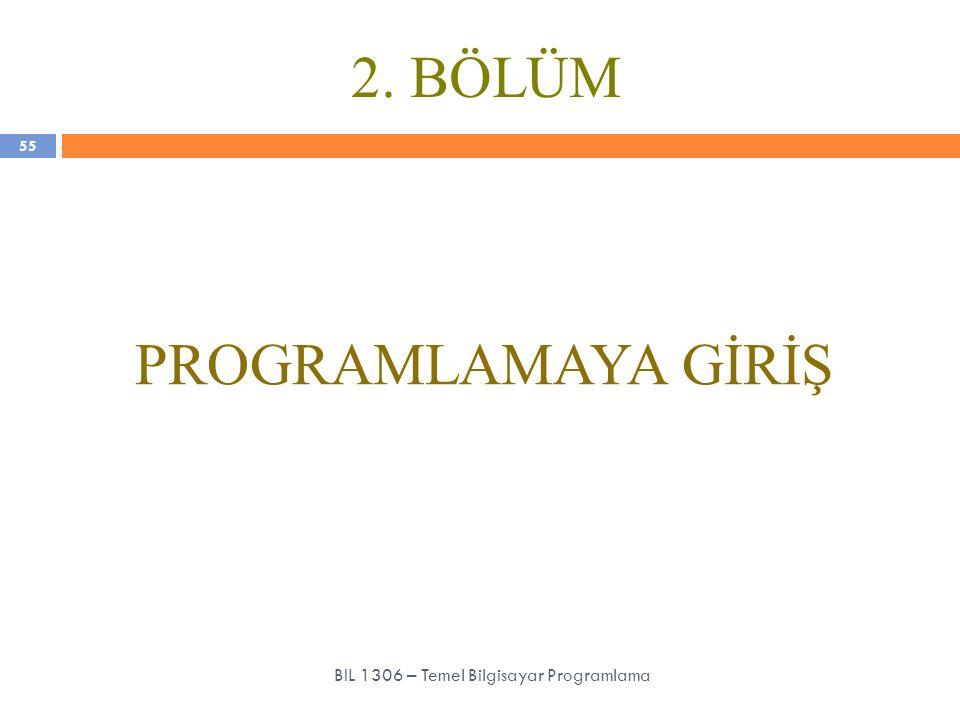 BIL 1306 – Temel Bilgisayar Programlama