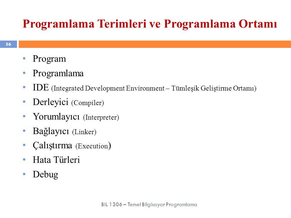 Programlama Terimleri ve Programlama Ortamı