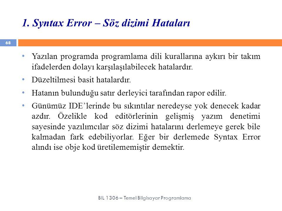 1. Syntax Error – Söz dizimi Hataları