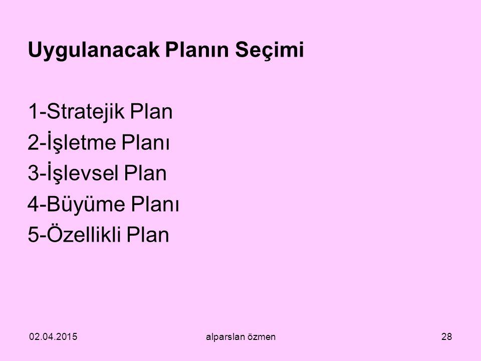 Uygulanacak Planın Seçimi 1-Stratejik Plan 2-İşletme Planı 3-İşlevsel Plan 4-Büyüme Planı 5-Özellikli Plan