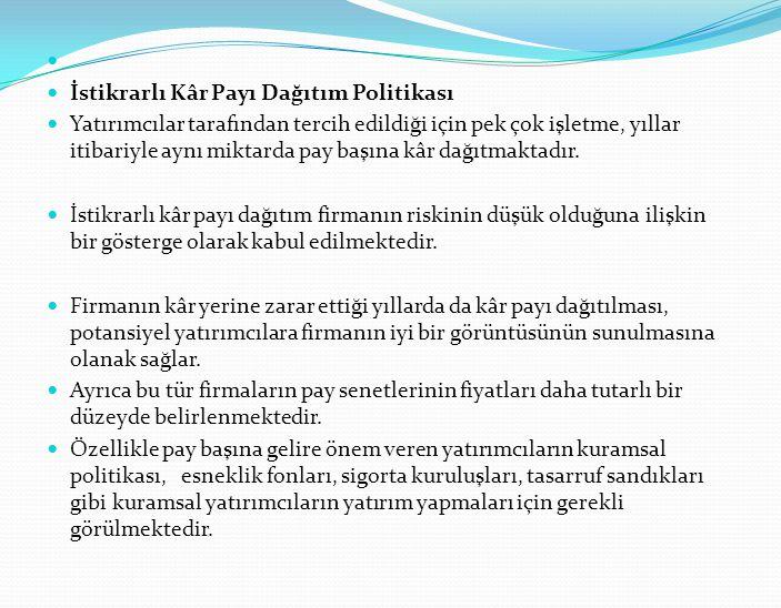 İstikrarlı Kâr Payı Dağıtım Politikası.