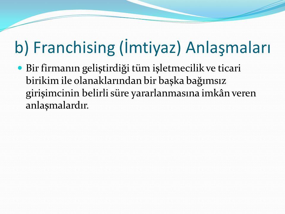 b) Franchising (İmtiyaz) Anlaşmaları