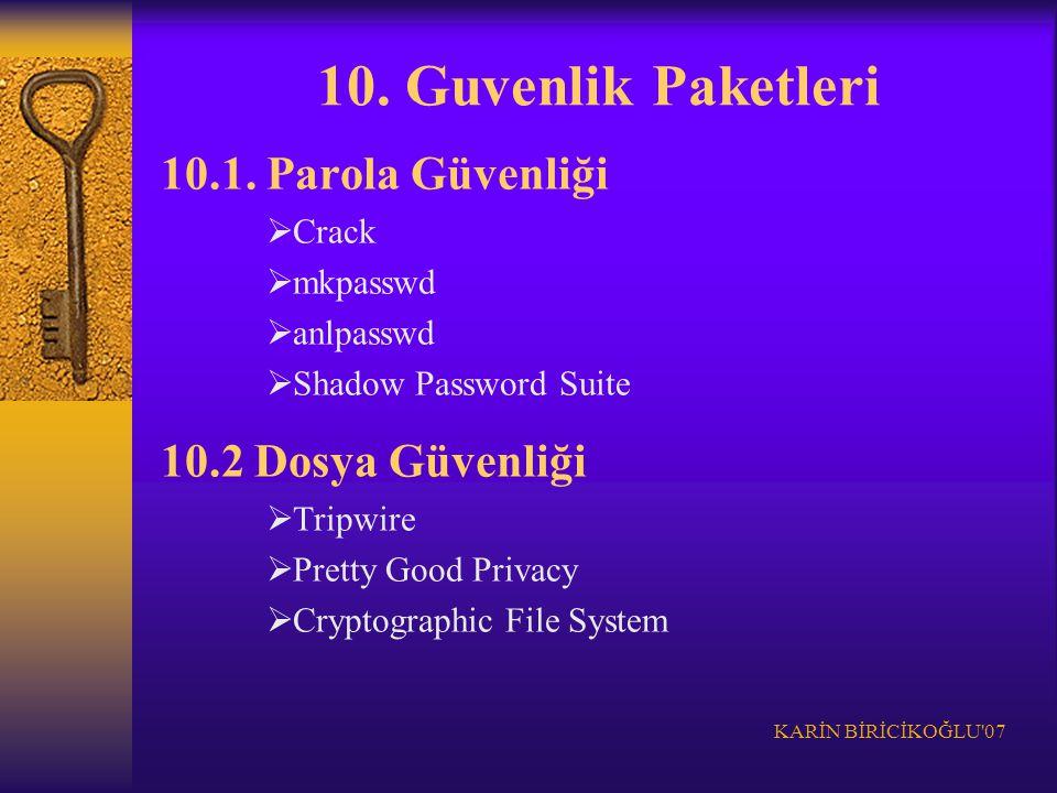 10. Guvenlik Paketleri 10.1. Parola Güvenliği 10.2 Dosya Güvenliği