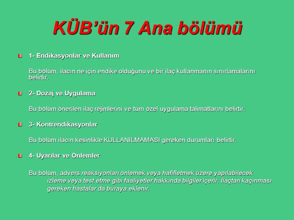 KÜB'ün 7 Ana bölümü 1- Endikasyonlar ve Kullanım
