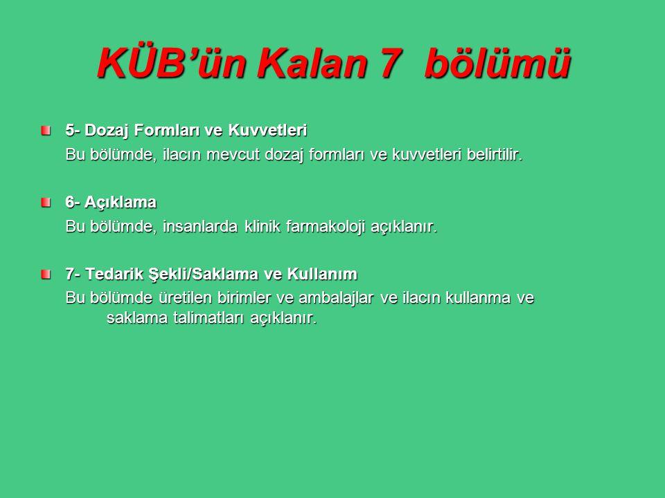 KÜB'ün Kalan 7 bölümü 5- Dozaj Formları ve Kuvvetleri