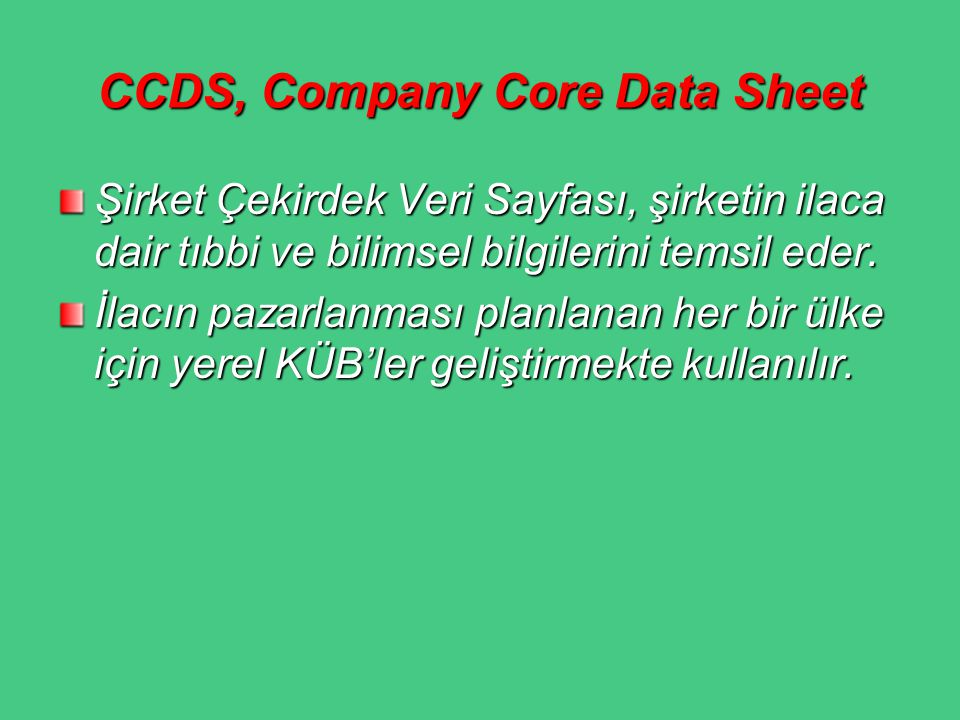 CCDS, Company Core Data Sheet