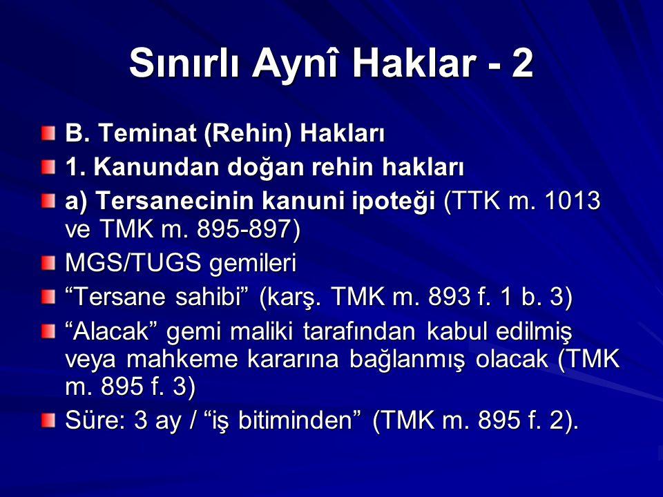 Sınırlı Aynî Haklar - 2 B. Teminat (Rehin) Hakları