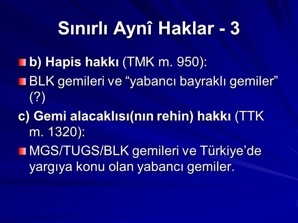 Sınırlı Aynî Haklar - 3 b) Hapis hakkı (TMK m. 950):