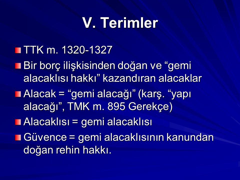 V. Terimler TTK m. 1320-1327. Bir borç ilişkisinden doğan ve gemi alacaklısı hakkı kazandıran alacaklar.