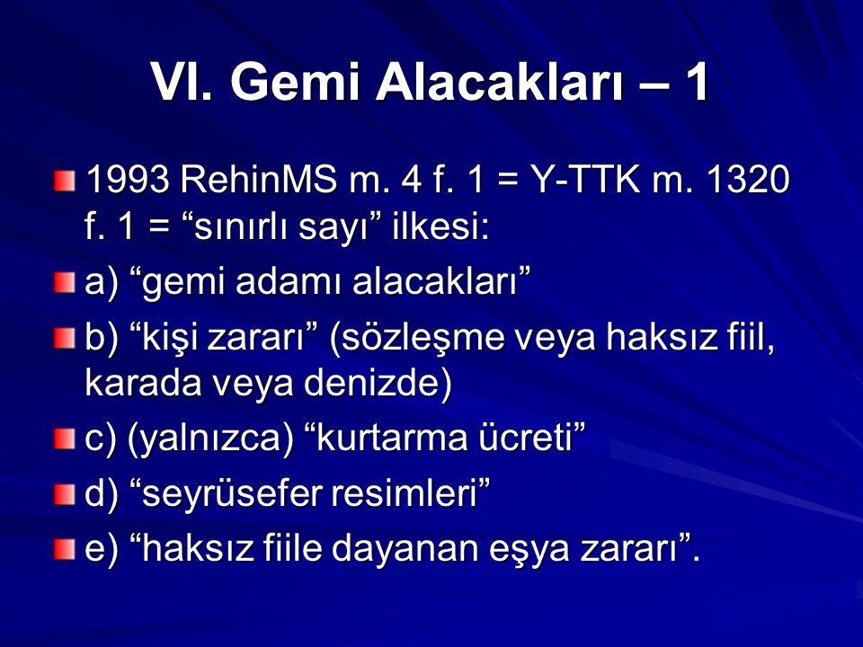 VI. Gemi Alacakları – 1 1993 RehinMS m. 4 f. 1 = Y-TTK m. 1320 f. 1 = sınırlı sayı ilkesi: a) gemi adamı alacakları