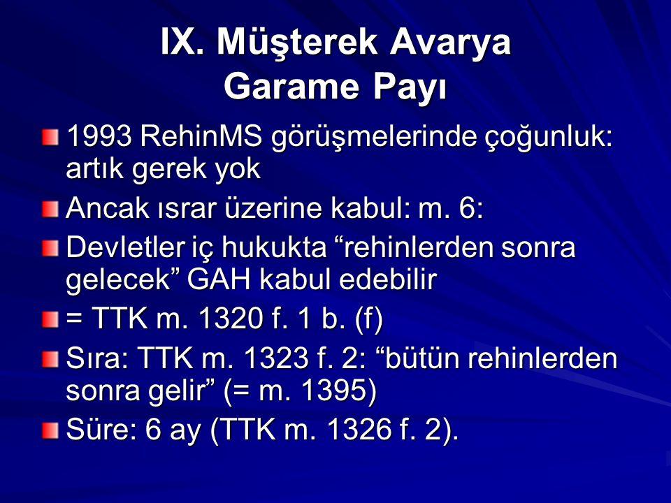 IX. Müşterek Avarya Garame Payı