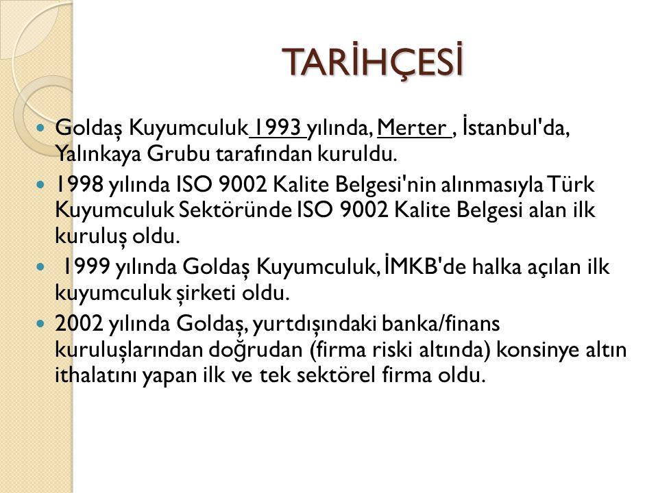 TARİHÇESİ Goldaş Kuyumculuk 1993 yılında, Merter , İstanbul da, Yalınkaya Grubu tarafından kuruldu.