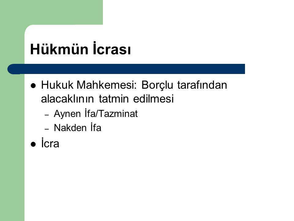 Hükmün İcrası Hukuk Mahkemesi: Borçlu tarafından alacaklının tatmin edilmesi. Aynen İfa/Tazminat. Nakden İfa.