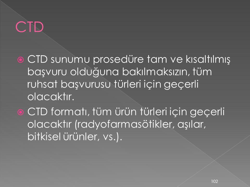 CTD CTD sunumu prosedüre tam ve kısaltılmış başvuru olduğuna bakılmaksızın, tüm ruhsat başvurusu türleri için geçerli olacaktır.