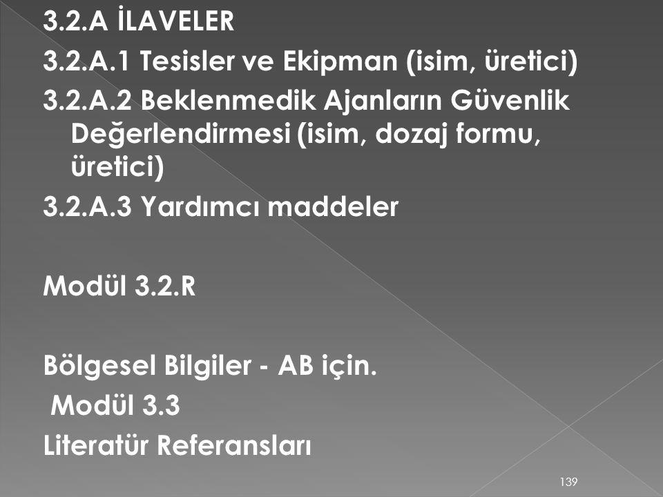 3.2.A İLAVELER 3.2.A.1 Tesisler ve Ekipman (isim, üretici) 3.2.A.2 Beklenmedik Ajanların Güvenlik Değerlendirmesi (isim, dozaj formu, üretici)