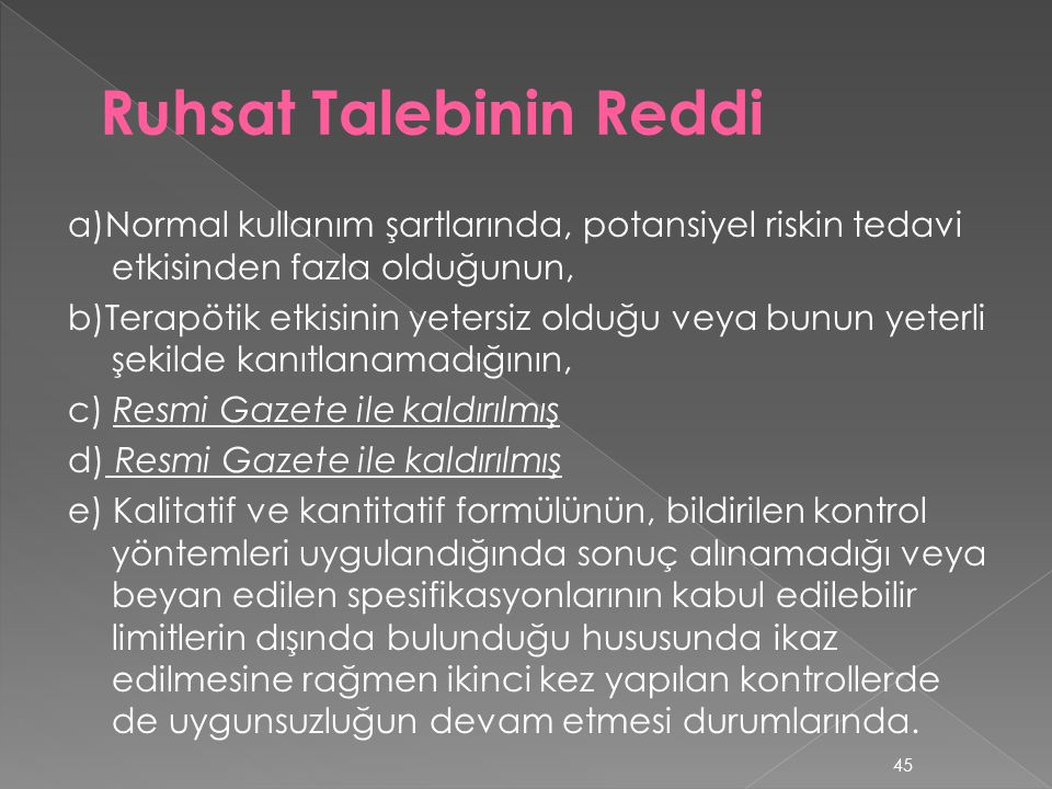 Ruhsat Talebinin Reddi