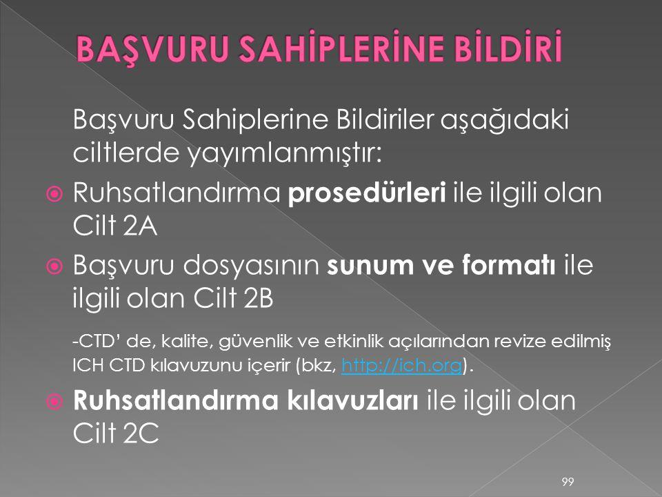 BAŞVURU SAHİPLERİNE BİLDİRİ