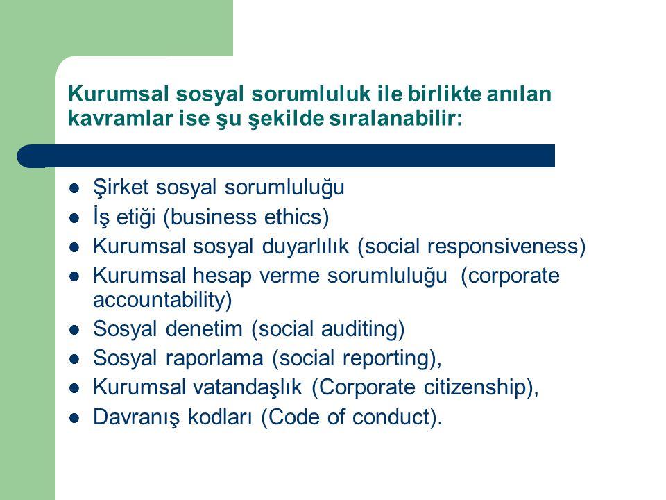 Kurumsal sosyal sorumluluk ile birlikte anılan kavramlar ise şu şekilde sıralanabilir: